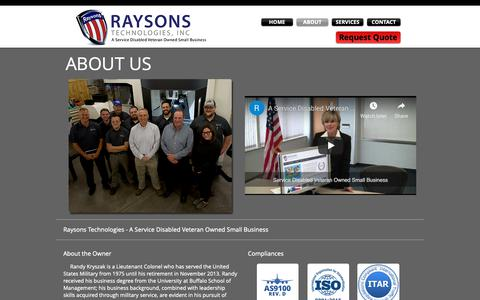 Screenshot of About Page raysonstech.com - Raysons Technologies | Precision Machining | Buffalo, NY - captured Nov. 15, 2018