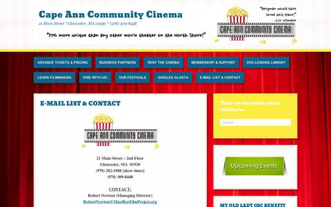 Screenshot of About Page wordpress.com - E-MAIL LIST & CONTACT | Cape Ann Community Cinema - captured Sept. 12, 2014