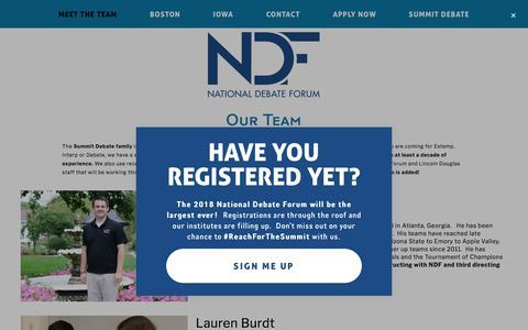 Screenshot of Team Page nationaldebateforum.com - Meet the Team — National Debate Forum - captured March 11, 2018