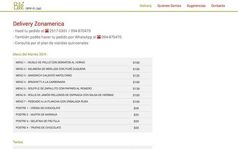 Screenshot of Home Page ble.com.uy - Blé - como en casa - captured Oct. 4, 2014
