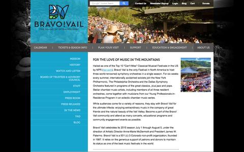 Screenshot of About Page bravovail.org - About Us | Bravo! Vail - captured Sept. 30, 2014