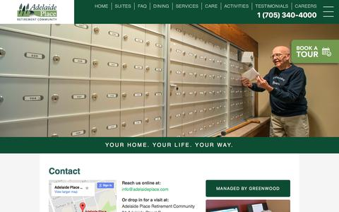 Screenshot of Contact Page adelaideplace.com - Contact – Adelaide Place Retirement Community - captured Oct. 7, 2017