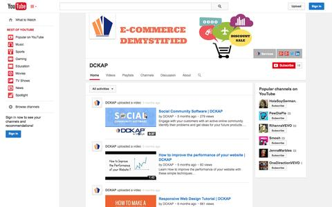 Screenshot of YouTube Page youtube.com - DCKAP  - YouTube - captured Oct. 23, 2014