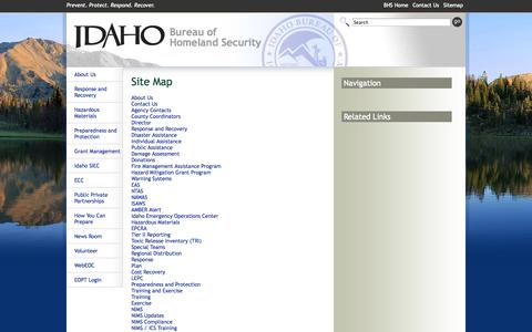 Screenshot of Site Map Page idaho.gov - BHS Home > Sitemap - captured Sept. 18, 2014