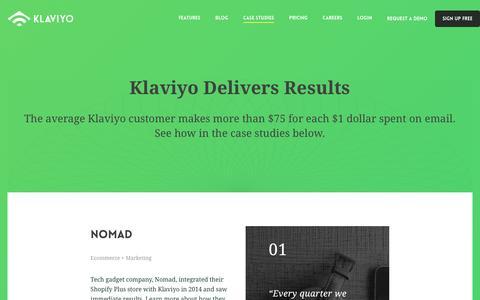Screenshot of Case Studies Page klaviyo.com - Case Studies - Klaviyo - captured Aug. 9, 2016