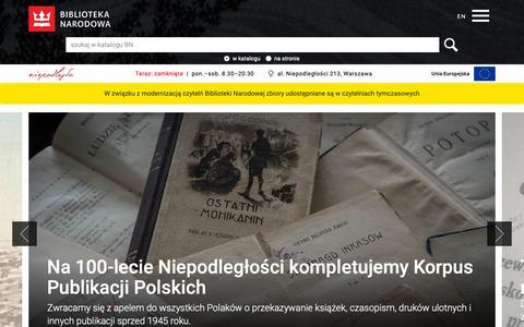 Screenshot of Home Page bn.org.pl - Biblioteka Narodowa - captured Oct. 19, 2018