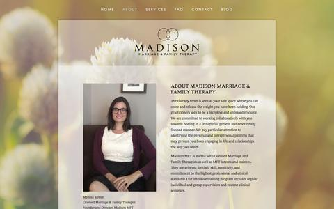 Screenshot of About Page madisonmft.com - About — Madison Marriage and Family Therapy - captured Feb. 4, 2016