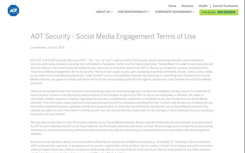 ADT Social Media Engagement Terms & Conditions - ADT Security Services
