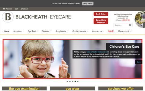 Screenshot of Home Page blackheatheyecare.co.uk - | Blackheath Eyecare Opticians | Charlton Opticians, South East London - captured Aug. 2, 2018
