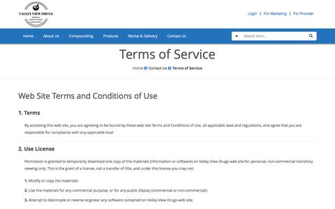 Screenshot of Terms Page valleyviewdrugs.com - Terms of Service - Valley View Drugs - captured May 4, 2017