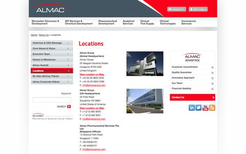 Screenshot of Locations Page almacgroup.com - Locations - captured Sept. 22, 2014