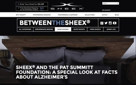 Screenshot of Blog sheex.com - SHEEX® Performance Bedding & Sleepwear SHEEX® and The Pat Summitt Foundation: A Special Look at Facts About Alzheimer's - SHEEX® Performance Bedding & Sleepwear - captured March 25, 2016