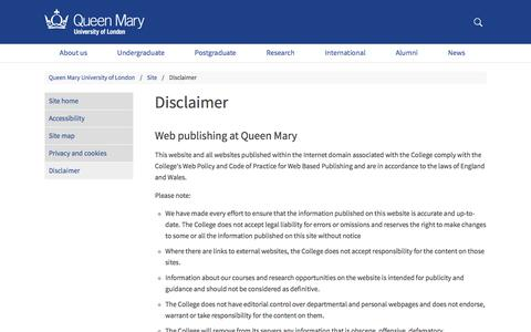 Disclaimer - Queen Mary University of London