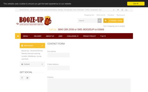 Screenshot of Contact Page booze-up.com - Contact Us - captured July 4, 2016