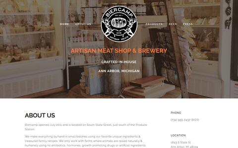 Screenshot of Home Page bier-camp.com - Your neighborhood meat shop - captured March 30, 2016