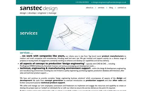 Screenshot of Services Page sanstec.com - Design and development engineering services - Sanstec Design - captured July 27, 2018