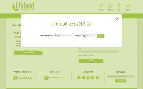 Screenshot of Login Page lifefood.cz - Přihlášení zákazníka - captured Oct. 23, 2017