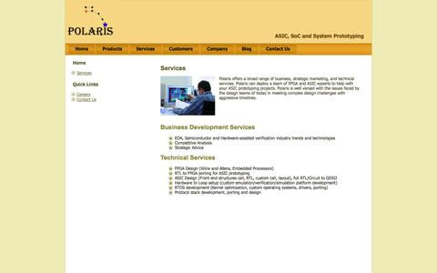 Screenshot of Services Page polaris-ds.com - Services | Polaris Design Systems – System & ASIC Prototyping with FPGA - captured Sept. 17, 2014