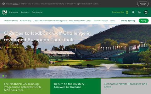 Screenshot of Press Page nedbank.co.za - News & Insights - captured Feb. 6, 2020
