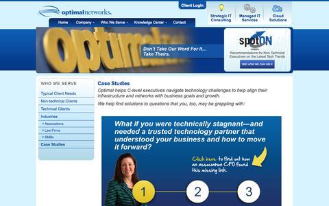 Screenshot of Case Studies Page optimalnetworks.com - Case Studies | Optimal Networks - captured Oct. 2, 2014
