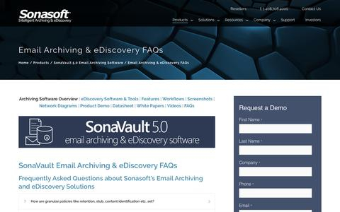 Screenshot of FAQ Page sonasoft.com - Email Archiving & eDiscovery FAQs – Email Archiving & eDiscovery Solutions - captured June 27, 2017