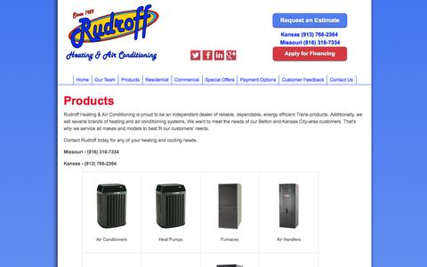 Screenshot of Products Page rudroffheating.com - Heating & Air Conditioning Systems in Belton & Kansas City - captured Oct. 6, 2014