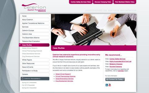 Screenshot of Case Studies Page celerion.com - Case Studies – Celerion - captured Sept. 29, 2014