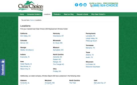 Screenshot of Locations Page clearchoice-usa.com - Locations - Replacement Windows from Clear Choice USA - captured Sept. 29, 2014