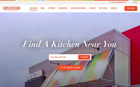 Screenshot of Locations Page zoeskitchen.com - Location Search - Zoës Kitchen - captured Sept. 24, 2018