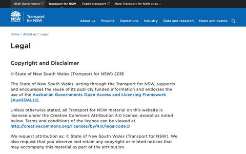 Screenshot of Terms Page nsw.gov.au - Legal | Transport for NSW - captured Oct. 19, 2018