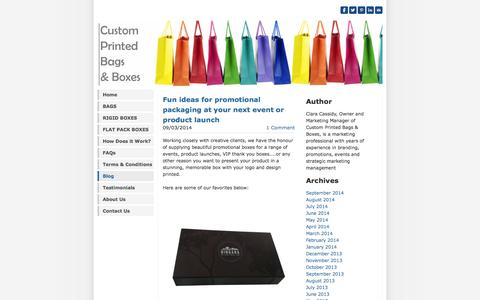 Screenshot of Blog customprintedbagsandboxes.com.au - Custom Printed Bags & Boxes - Blog - captured Oct. 3, 2014