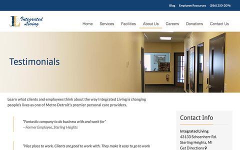 Screenshot of Testimonials Page integratedliving.org - Testimonials From Our Clients - Integrated Living - captured Nov. 26, 2016