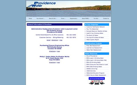 Screenshot of Contact Page Maps & Directions Page provwater.com - New & Improved Providence Water Internet Website - captured Oct. 23, 2014