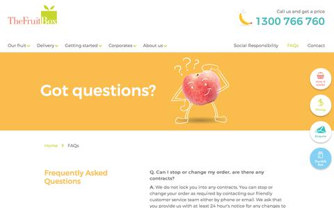 Screenshot of FAQ Page thefruitbox.com.au - Frequently Asked Questions | The Fruit Box - captured June 2, 2017