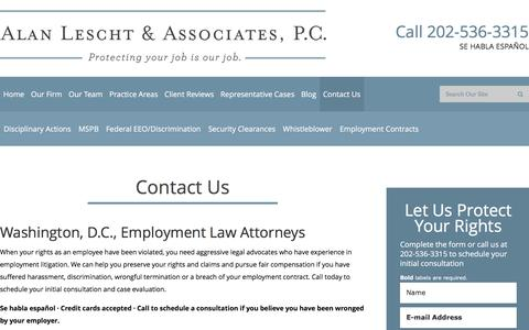Screenshot of Contact Page Maps & Directions Page dcemploymentattorney.com - Contact Us Alan Lescht & Associates, P.C. - captured Feb. 5, 2016