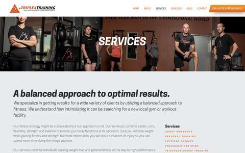 Screenshot of Services Page triplextraining.com - Triplex Training – Gym Gym | Chandler Group Training - captured Nov. 10, 2017