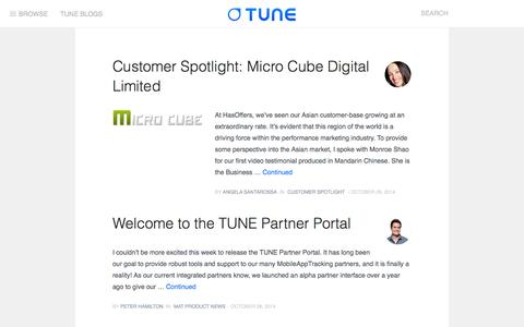 Screenshot of Blog tune.com - TUNE | Mobile Marketing Blog - captured Oct. 29, 2014