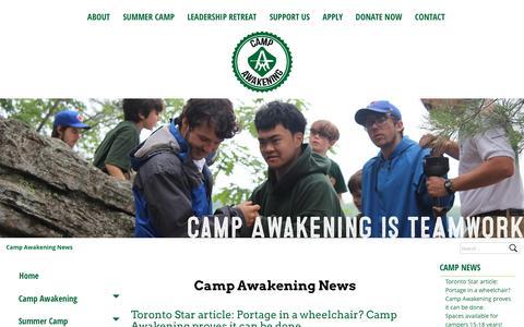 Screenshot of Press Page campawakening.com - Camp Awakening News | Camp Awakening - captured July 9, 2016