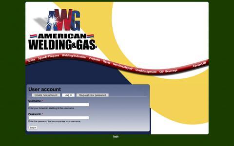 Screenshot of Login Page amwelding.com - User account | American Welding & Gas - captured Oct. 4, 2014