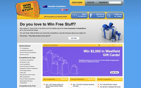Screenshot of Home Page win-free-stuff.com.au - Win Free Stuff - Australian Online Competitions - captured Sept. 25, 2014