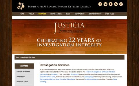 Screenshot of Services Page justicia.co.za - Investigation Services | Justicia Investigations - captured Oct. 6, 2014