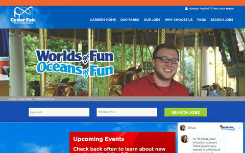 Screenshot of Jobs Page cedarfair.com - Fun Jobs at Worlds of Fun   Search Park Jobs and Apply Online Now - captured Sept. 22, 2018
