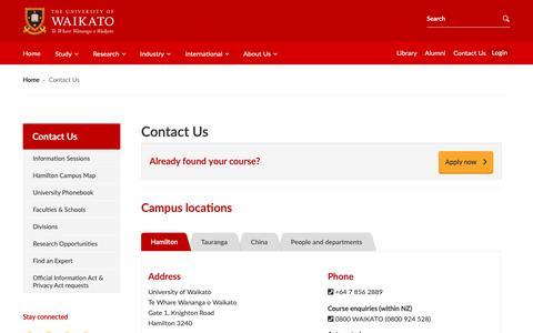 Screenshot of Locations Page waikato.ac.nz - Contact Us: University of Waikato - captured Oct. 18, 2018