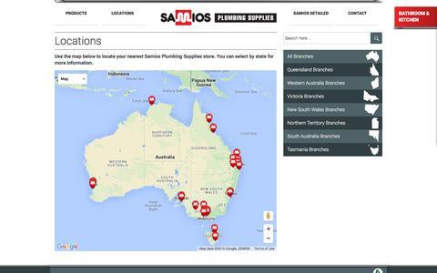 Screenshot of Locations Page samios.net.au - Samios Plumbing Supplies | Locations - captured Feb. 4, 2016