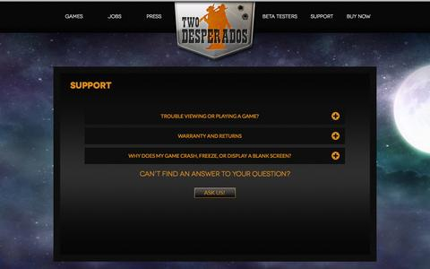 Screenshot of Support Page twodesperados.com - SUPPORT - Two Desperados - captured Nov. 5, 2014