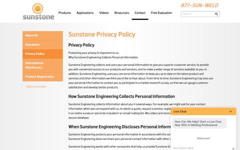 Screenshot of Privacy Page sunstoneengineering.com - Privacy Policy | Sunstone Engineering - Micro Welding Systems - captured Sept. 21, 2018