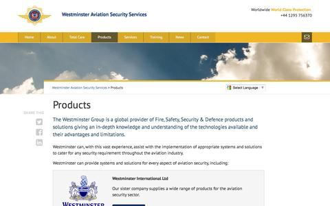 Screenshot of Products Page wass-ltd.com - Products - Westminster Aviation Security Services - captured Nov. 29, 2016