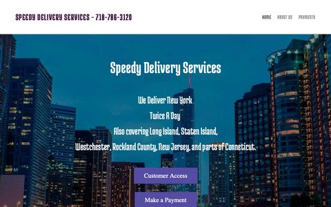 Screenshot of Home Page speedydeliveryservices.yolasite.com - Speedy Delivery Services - captured Oct. 2, 2018