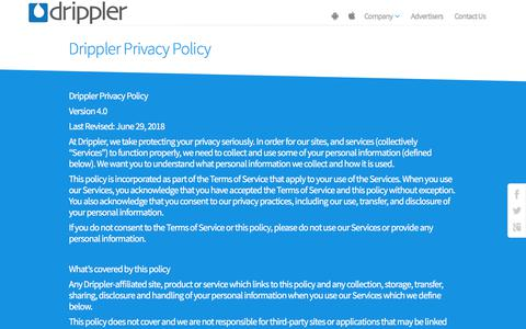 Screenshot of Privacy Page drippler.com - Privacy Policy | Drippler - captured Sept. 15, 2019