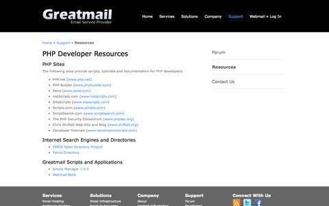 Screenshot of Developers Page greatmail.com - Development Resources for PHP Programmers - captured Oct. 30, 2014